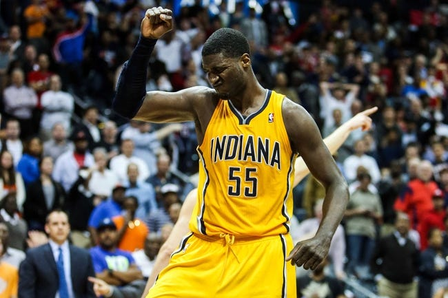 May 3, 2013; Atlanta, GA, USA; Indiana Pacers center Roy Hibbert (55) reacts to a call in the second half of game six of the first round of the 2013 NBA Playoffs against the Atlanta Hawks at Philips Arena. The Pacers won 81-73. Mandatory Credit: Daniel Shirey-USA TODAY Sports