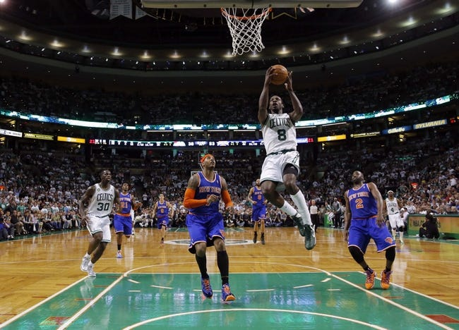 May 3, 2013; Boston, MA, USA; Boston Celtics power forward Jeff Green (8) drives to the basket against New York Knicks small forward Carmelo Anthony (7) in game six of the first round of the 2013 NBA Playoffs at TD Garden. The New York Knicks defeated the Celtics 88-80. Mandatory Credit: David Butler II-USA TODAY Sports
