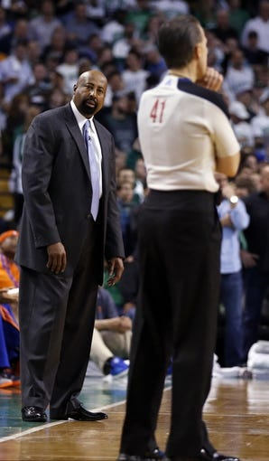 May 3, 2013; Boston, MA, USA; New York Knicks head coach Mike Woodson watches from the sideline as they take on the Boston Celtics in game six of the first round of the 2013 NBA Playoffs at TD Garden. Mandatory Credit: David Butler II-USA TODAY Sports