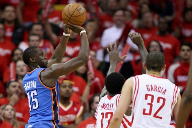 May 3, 2013; Houston, TX, USA; Oklahoma City Thunder point guard Reggie Jackson (15) attempts a shot during the first quarteragainst the Houston Rockets in game six of the first round of the 2013 NBA Playoffs at the Toyota Center. Mandatory Credit: Troy Taormina-USA TODAY Sports
