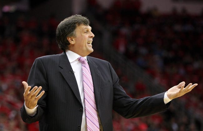 May 3, 2013; Houston, TX, USA; Houston Rockets head coach Kevin McHale reacts after a play during the first quarter against the Oklahoma City Thunder in game six of the first round of the 2013 NBA Playoffs at the Toyota Center. Mandatory Credit: Troy Taormina-USA TODAY Sports