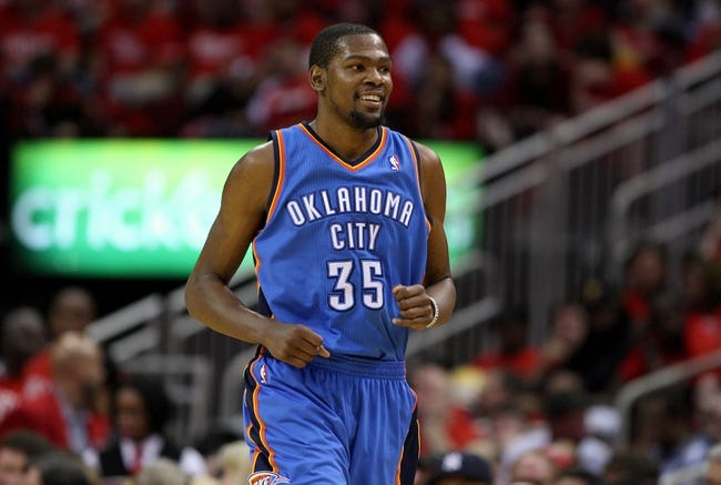 May 3, 2013; Houston, TX, USA; Oklahoma City Thunder small forward Kevin Durant (35) reactsa after a play during the third quarter against the Houston Rockets in game six of the first round of the 2013 NBA Playoffs at the Toyota Center. Mandatory Credit: Troy Taormina-USA TODAY Sports