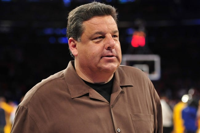 May 5, 2013; New York, NY, USA; Steve Schirripa looks on during the first half of game one of the second round of the NBA Playoffs between the New York Knicks and Indiana Pacers. Pacers won the game 102-95. Mandatory Credit: Joe Camporeale-USA TODAY Sports