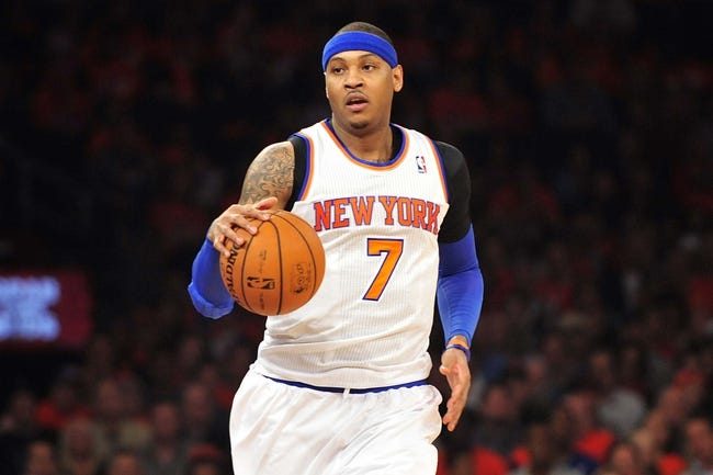 May 5, 2013; New York, NY, USA; New York Knicks small forward Carmelo Anthony (7) dribbles against the Indiana Pacers during the first half of game one of the second round of the NBA Playoffs. Pacers won the game 102-95. Mandatory Credit: Joe Camporeale-USA TODAY Sports