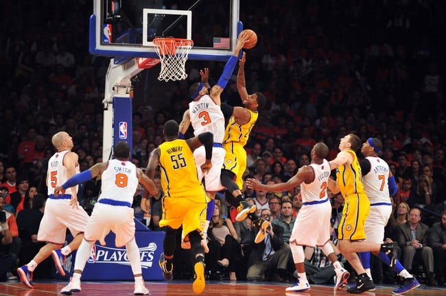 May 5, 2013; New York, NY, USA; New York Knicks power forward Kenyon Martin (3) blocks a shot by Indiana Pacers small forward Paul George (24) during the first half of game one of the second round of the NBA Playoffs. Pacers won the game 102-95. Mandatory Credit: Joe Camporeale-USA TODAY Sports