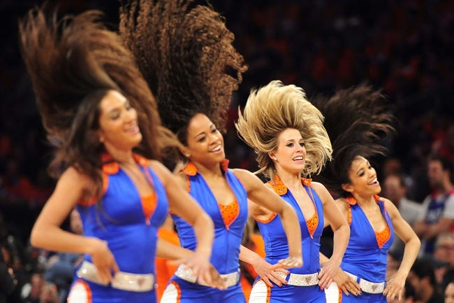 May 5, 2013; New York, NY, USA; The Knicks City dancers perform during the first half of game one of the second round of the NBA Playoffs between the New York Knicks and Indiana Pacers. Pacers won the game 102-95. Mandatory Credit: Joe Camporeale-USA TODAY Sports