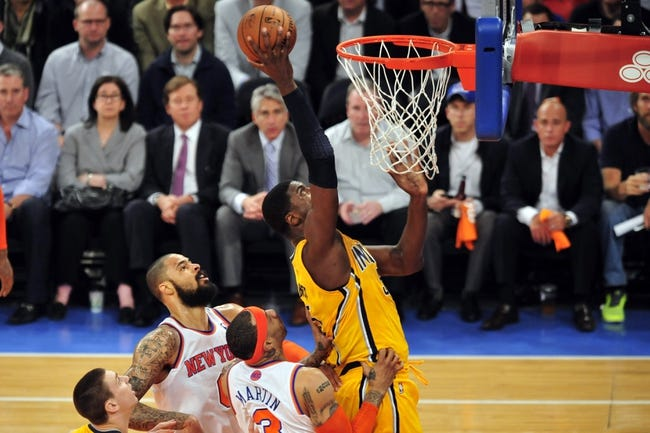 May 7, 2013; New York, NY, USA; Indiana Pacers center Roy Hibbert (55) puts up a layup against the New York Knicks during the first half in game two of the second round of the 2013 NBA Playoffs at Madison Square Garden. Knicks won the game 105-79. Mandatory Credit: Joe Camporeale-USA TODAY Sports