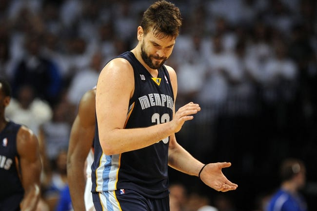 May 7, 2013; Oklahoma City, OK, USA; Memphis Grizzlies center Marc Gasol (33) reacts to a play against the Oklahoma City Thunder during the second half in game two of the second round of the 2013 NBA Playoffs at Chesapeake Energy Arena. Mandatory Credit: Mark D. Smith-USA TODAY Sports