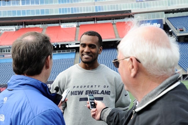 May 3, 2013; Foxboro, MA USA; New England Patriots rookie Aaron Dobson of Marshall talks with the media during rookie minicamp at Gillette Stadium. Mandatory Credit: Bob DeChiara-USA TODAY Sports