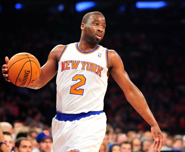 May 5, 2013; New York, NY, USA; New York Knicks point guard Raymond Felton (2) dribbles against the Indiana Pacers during the first half of game one of the second round of the NBA Playoffs. Pacers won the game 102-95. Mandatory Credit: Joe Camporeale-USA TODAY Sports