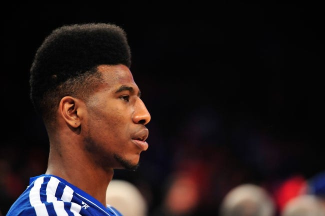 May 5, 2013; New York, NY, USA; New York Knicks small forward Iman Shumpert (21) looks on before the first half of game one of the second round of the NBA Playoffs against the Indiana Pacers. Pacers won the game 102-95. Mandatory Credit: Joe Camporeale-USA TODAY Sports