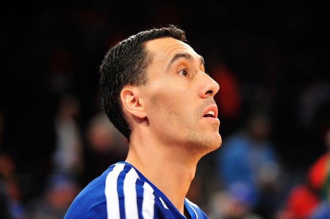 May 5, 2013; New York, NY, USA; New York Knicks point guard Pablo Prigioni (9) looks on before the first half of game one of the second round of the NBA Playoffs against the Indiana Pacers. Pacers won the game 102-95. Mandatory Credit: Joe Camporeale-USA TODAY Sports