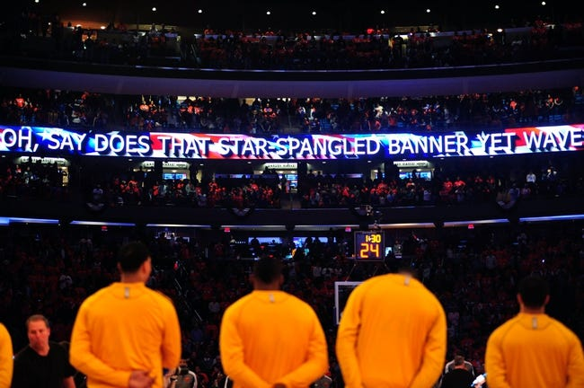 May 5, 2013; New York, NY, USA; The Indiana Pacers look on during the national anthem before game one of the second round of the NBA Playoffs against the New York Knicks. Pacers won the game 102-95. Mandatory Credit: Joe Camporeale-USA TODAY Sports