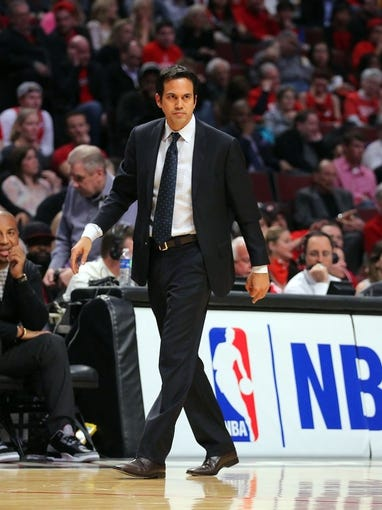May 10, 2013; Chicago, IL, USA; Miami Heat head coach Erik Spoelstra during the second half in game three of the second round of the 2013 NBA Playoffs against the Chicago Bulls at the United Center. Miami won 104-94. Mandatory Credit: Dennis Wierzbicki-USA TODAY Sports