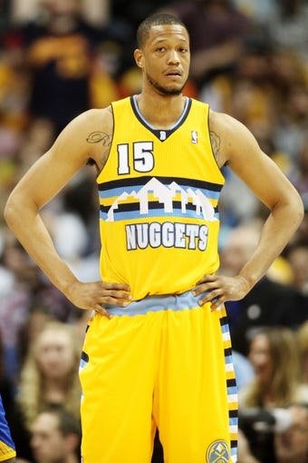 Apr 20, 2013; Denver, CO, USA; Denver Nuggets forward Anthony Randolph (15) during the second half of game one of the first round of the 2013 NBA Playoffs against the Golden State Warriors at the Pepsi Center. The Nuggets won97-95.  Mandatory Credit: Chris Humphreys-USA TODAY Sports