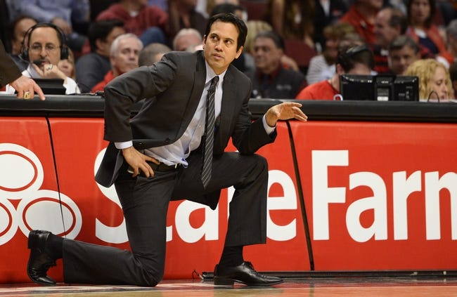 May 13, 2013; Chicago, IL, USA;  Miami Heat head coach Erik Spoelstra against the Chicago Bulls during the second half at the United Center. Miami defeats Chicago 88-65. Mandatory Credit: Mike DiNovo-USA TODAY Sports