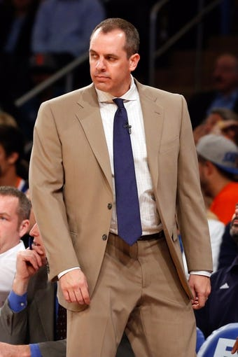 May 16, 2013; New York, NY, USA;  Indiana Pacers head coach Frank Vogel during the third quarter of game five in the second round of the 2013 NBA Playoffs against the New York Knicks at Madison Square Garden. Knicks won 85-75.  Mandatory Credit: Anthony Gruppuso-USA TODAY Sports