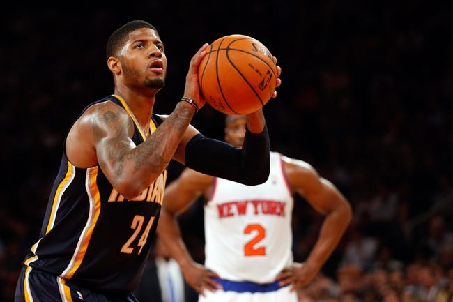 May 16, 2013; New York, NY, USA;  Indiana Pacers small forward Paul George (24) shoots a free throw during the third quarter against the New York Knicks in game five in the second round of the 2013 NBA Playoffs at Madison Square Garden. Knicks won 85-75.  Mandatory Credit: Anthony Gruppuso-USA TODAY Sports