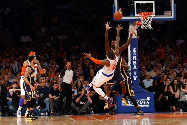 May 16, 2013; New York, NY, USA;  New York Knicks shooting guard J.R. Smith (8) shoots as he falls back during the third quarter against the Indiana Pacers in game five in the second round of the 2013 NBA Playoffs at Madison Square Garden. Knicks won 85-75.  Mandatory Credit: Anthony Gruppuso-USA TODAY Sports