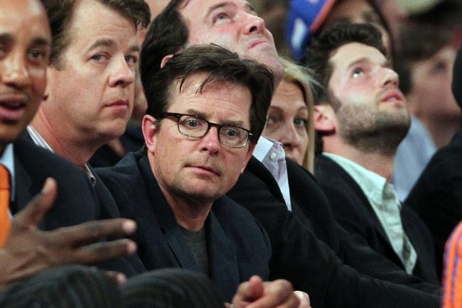 May 16, 2013; New York, NY, USA;  American actor Michael J Fox during game 5 of the second round of the 2013 NBA Playoffsbetween the New York Knicks and the Indiana Pacers at Madison Square Garden. Knicks won 85-75.  Mandatory Credit: Anthony Gruppuso-USA TODAY Sports