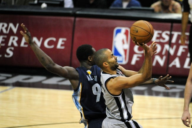 May 19, 2013; San Antonio, TX, USA; San Antonio Spurs guard Tony Parker (9) shoots against the Memphis Grizzlies in game one of the Western Conference finals of the 2013 NBA Playoffs at AT&T Center. San Antonio beat Memphis 105-83. Mandatory Credit: Brendan Maloney-USA TODAY Sports