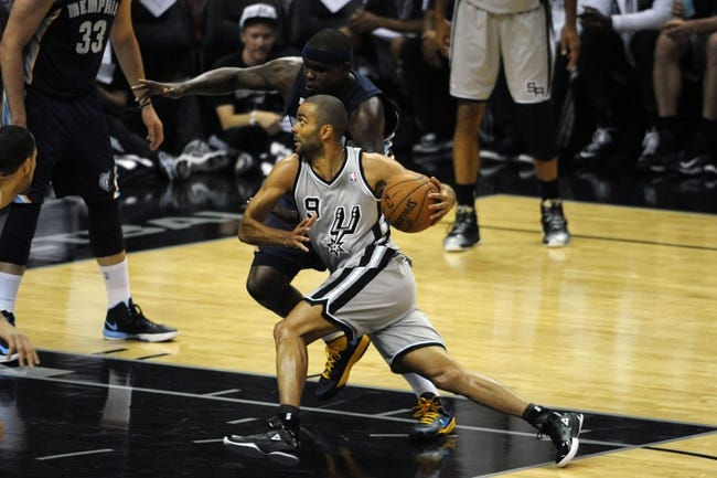 May 19, 2013; San Antonio, TX, USA; San Antonio Spurs guard Tony Parker (9) drives against Memphis Grizzlies forward Zach Randolph (50) in game one of the Western Conference finals of the 2013 NBA Playoffs at AT&T Center. San Antonio beat Memphis 105-83. Mandatory Credit: Brendan Maloney-USA TODAY Sports
