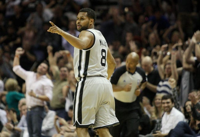 May 19, 2013; San Antonio, TX, USA; San Antonio Spurs point guard Patty Mills (8) reacts after making a basket during the fourth quarter against the Memphis Grizzlies in game one of the Western Conference finals of the 2013 NBA Playoffs at AT&T Center. Mandatory Credit: Troy Taormina-USA TODAY Sports