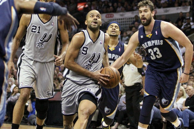 May 19, 2013; San Antonio, TX, USA; San Antonio Spurs point guard Tony Parker (9) drives to the basket during the first quarter against the Memphis Grizzlies in game one of the Western Conference finals of the 2013 NBA Playoffs at AT&T Center. Mandatory Credit: Troy Taormina-USA TODAY Sports