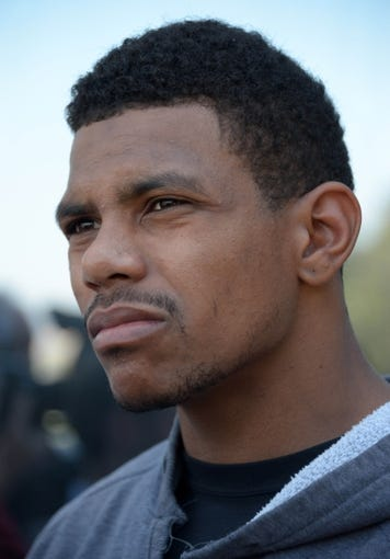 May 20, 2013; Alameda, CA, USA; Oakland Raiders quarterback Terrelle Pryor at organized team activities at the Raiders practice facility. Mandatory Credit: Kirby Lee-USA TODAY Sports