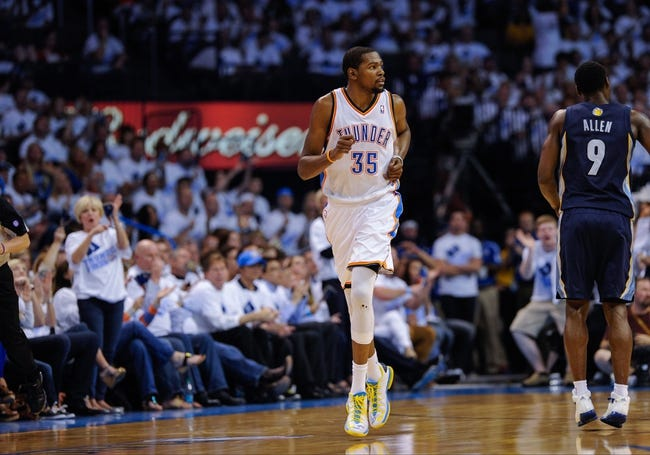 May 15, 2013; Oklahoma City, OK, USA; Oklahoma City Thunder small forward Kevin Durant (35) runs back up the court during game five against the Memphis Grizzlies in the second round of the 2013 NBA Playoffs at Chesapeake Energy Arena. The Grizzlies defeated the Thunder 88-84. Mandatory Credit: Jerome Miron-USA TODAY Sports