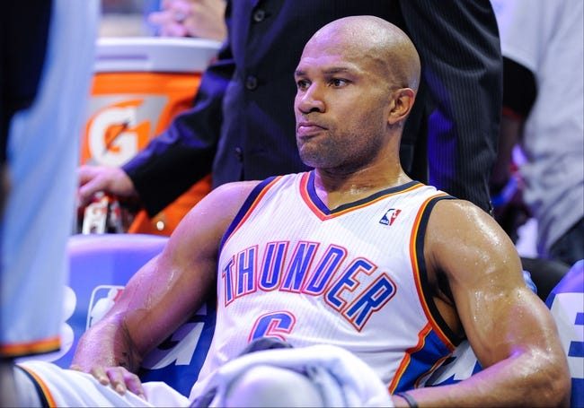 May 15, 2013; Oklahoma City, OK, USA; Oklahoma City Thunder point guard Derek Fisher (6) rests on the bench during game five against the Memphis Grizzlies in the second round of the 2013 NBA Playoffs at Chesapeake Energy Arena. The Grizzlies defeated the Thunder 88-84. Mandatory Credit: Jerome Miron-USA TODAY Sports