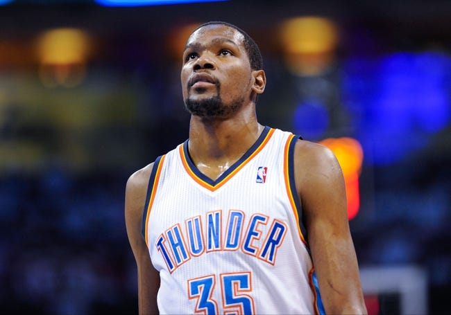 May 15, 2013; Oklahoma City, OK, USA; Oklahoma City Thunder small forward Kevin Durant (35) comes off the court during game five against the Memphis Grizzlies in the second round of the 2013 NBA Playoffs at Chesapeake Energy Arena. The Grizzlies defeated the Thunder 88-84. Mandatory Credit: Jerome Miron-USA TODAY Sports