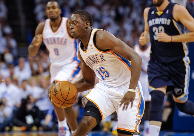 May 15, 2013; Oklahoma City, OK, USA; Oklahoma City Thunder point guard Reggie Jackson (15) dribbles the ball in the Memphis Grizzlies zone during game five of the second round of the 2013 NBA Playoffs at Chesapeake Energy Arena. The Grizzlies defeated the Thunder 88-84. Mandatory Credit: Jerome Miron-USA TODAY Sports