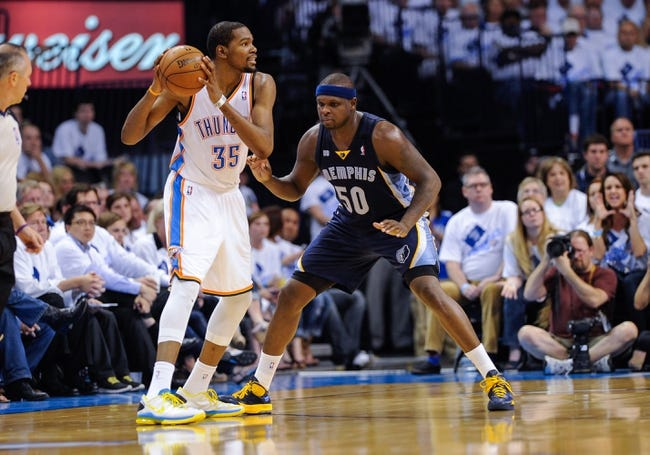 May 15, 2013; Oklahoma City, OK, USA; Memphis Grizzlies power forward Zach Randolph (50) guards Oklahoma City Thunder small forward Kevin Durant (35) during game five of the second round of the 2013 NBA Playoffs at Chesapeake Energy Arena. The Grizzlies defeated the Thunder 88-84. Mandatory Credit: Jerome Miron-USA TODAY Sports