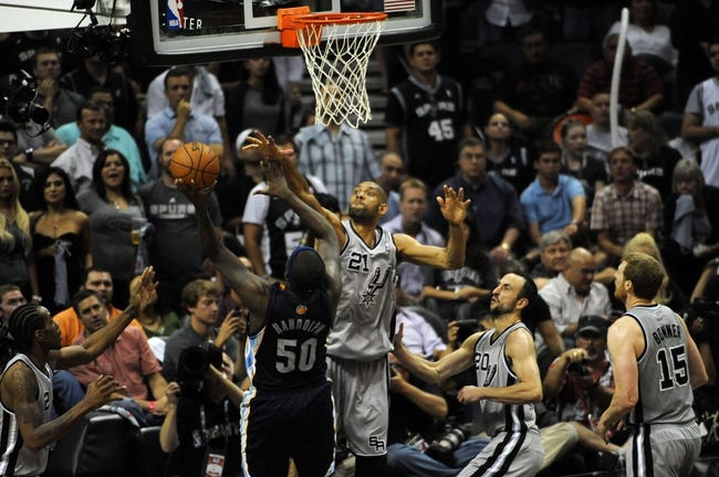 May 21, 2013; San Antonio, TX, USA; San Antonio Spurs forward Tim Duncan (21) attempts to block a shot by Memphis Grizzlies forward Zach Randolph (50) in game two of the Western Conference finals of the 2013 NBA Playoffs at AT&T Center. San Antonio beat Memphis 93-89. Mandatory Credit: Brendan Maloney-USA TODAY Sports