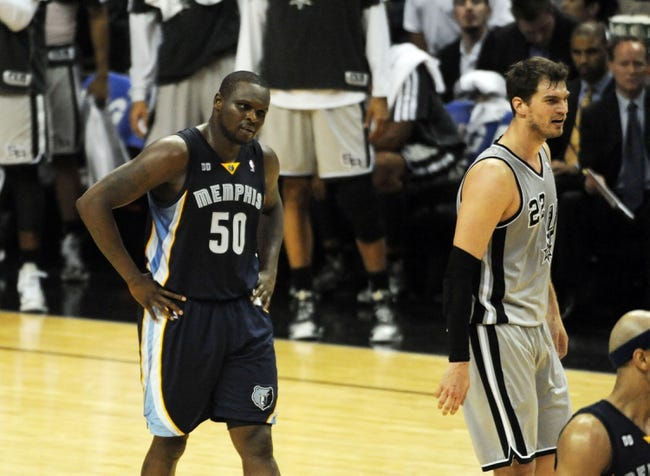 May 21, 2013; San Antonio, TX, USA; Memphis Grizzlies forward Zach Randolph (50) reacts against the San Antonio Spurs in game two of the Western Conference finals of the 2013 NBA Playoffs at AT&T Center. San Antonio beat Memphis 93-89. Mandatory Credit: Brendan Maloney-USA TODAY Sports
