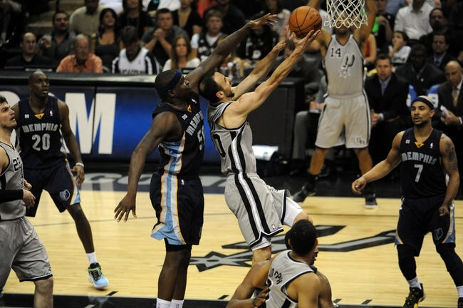 May 21, 2013; San Antonio, TX, USA; San Antonio Spurs guard Manu Ginobili (20) shoots against Memphis Grizzlies forward Zach Randolph (50) in game two of the Western Conference finals of the 2013 NBA Playoffs at AT&T Center. San Antonio beat Memphis 93-89. Mandatory Credit: Brendan Maloney-USA TODAY Sports