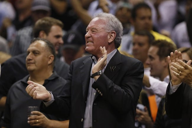 May 21, 2013; San Antonio, TX, USA; San Antonio Spurs owner Peter Holt cheers in game two of the Western Conference finals of the 2013 NBA Playoffs against the Memphis Grizzlies at AT&T Center. Mandatory Credit: Soobum Im-USA TODAY Sports