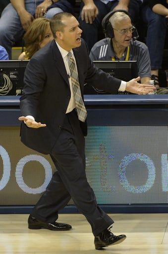May 26, 2013; Indianapolis, IN, USA; Indiana Pacers head coach Frank Vogel reacts to a call during the second quarter against the Miami Heat in game three of the Eastern Conference finals of the 2013 NBA Playoffs at Bankers Life Fieldhouse. Miami defeated Indiana 114-96.  Mandatory Credit: Jamie Rhodes-USA TODAY Sports