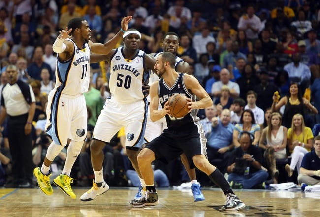 May 27, 2013; Memphis, TN, USA; San Antonio Spurs shooting guard Manu Ginobili (20) is defended by Memphis Grizzlies point guard Mike Conley (11) and power forward Zach Randolph (50)  in the second half of game four of the Western Conference finals of the 2013 NBA Playoffs at FedEx Forum.  The Spurs won 93-86.  Mandatory Credit: Spruce Derden-USA TODAY Sports