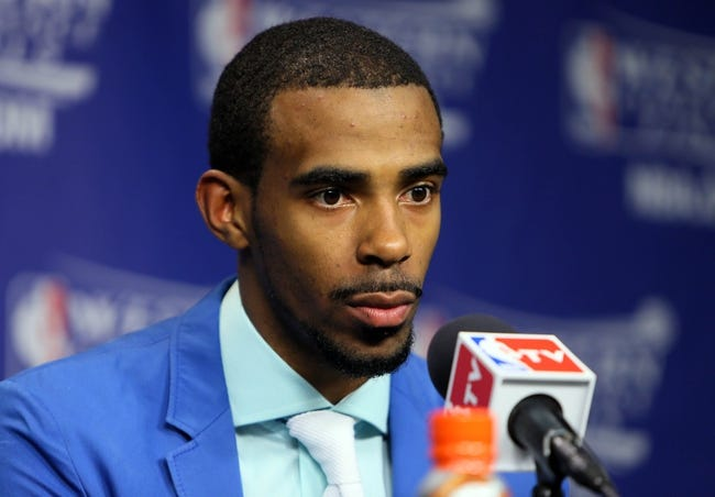 May 27, 2013; Memphis, TN, USA; Memphis Grizzlies point guard Mike Conley speaks at a press conference after game four of the Western Conference finals of the 2013 NBA Playoffs against the San Antonio Spurs at FedEx Forum.  The Spurs won 93-86.  Mandatory Credit: Spruce Derden-USA TODAY Sports