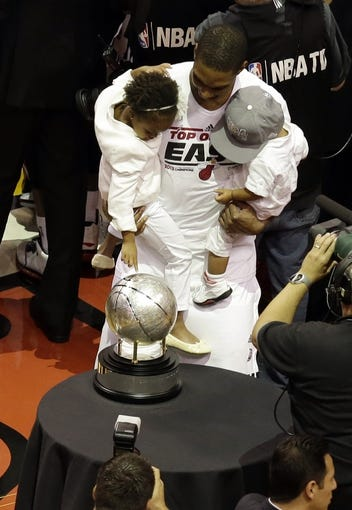 Jun 3, 2013; Miami, FL, USA; Miami Heat center Chris Bosh (1) celebrates winning game 7 of the 2013 NBA Eastern Conference Finals at American Airlines Arena. Miami Heat defeated the Indiana Pacers 99-76 to win the series 4 games to 3 . Mandatory Credit: Robert Mayer-USA TODAY Sports