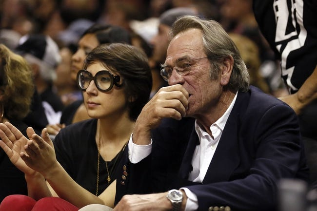 Jun 11, 2013; San Antonio, TX, USA; Tommy Lee Jones (right) in attendance  game three of the 2013 NBA Finals between the Miami Heat and the San Antonio Spurs at the AT&T Center. San Antonio Spurs won 113-77.  Mandatory Credit: Soobum Im-USA TODAY Sports