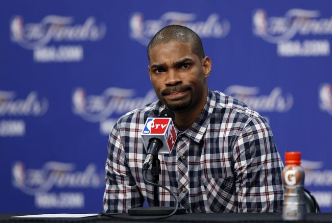 Jun 11, 2013; San Antonio, TX, USA; San Antonio Spurs point guard Gary Neal addresses the media during a press conference after game three of the 2013 NBA Finals against the Miami Heat at the AT&T Center. San Antonio Spurs won 113-77.  Mandatory Credit: Soobum Im-USA TODAY Sports