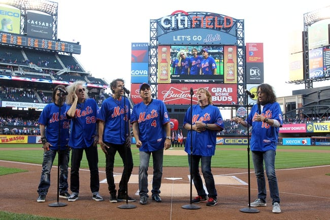 Jun 14, 2013; New York, NY, USA; The band Foreigner sings the national anthem before the start of a game between the New York Mets and the Chicago Cubs at Citi Field. Mandatory Credit: Brad Penner-USA TODAY Sports