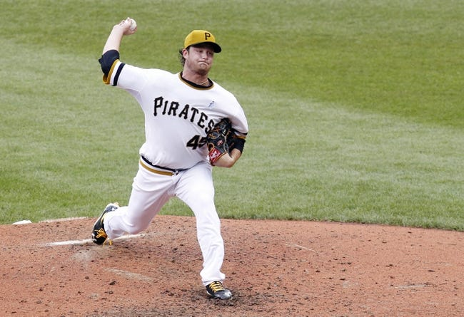 Jun 16, 2013; Pittsburgh, PA, USA; Pittsburgh Pirates starting pitcher Gerrit Cole (45) delivers a pitch against the Los Angeles Dodgers during the sixth inning at PNC Park. The Pittsburgh Pirates won 6-3. Mandatory Credit: Charles LeClaire-USA TODAY Sports