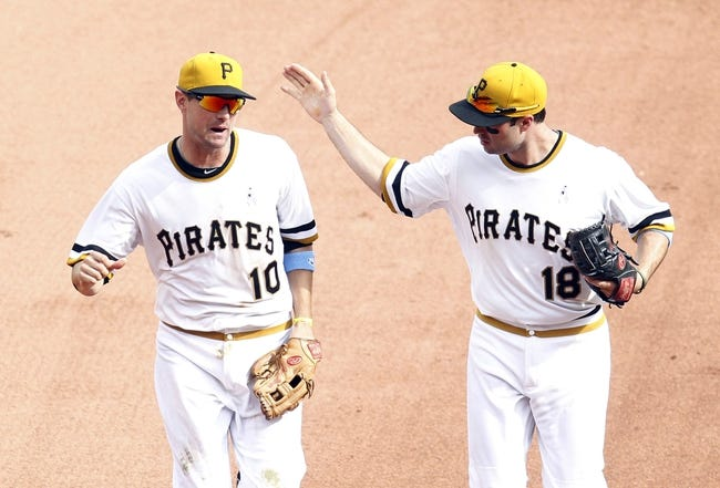 Jun 16, 2013; Pittsburgh, PA, USA; Pittsburgh Pirates shortstop Jordy Mercer (10) and second baseman Neil Walker (18) react after turning an inning ending double play against the Los Angeles Dodgers during the seventh inning at PNC Park. The Pittsburgh Pirates won 6-3. Mandatory Credit: Charles LeClaire-USA TODAY Sports