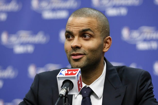 Jun 16, 2013; San Antonio, TX, USA; San Antonio Spurs point guard Tony Parker addresses the media after game five in the 2013 NBA Finals against the Miami Heat at the AT&T Center. San Antonio Spurs won 114-104. Mandatory Credit: Soobum Im-USA TODAY Sports