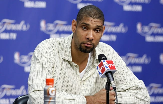 Jun 16, 2013; San Antonio, TX, USA; San Antonio Spurs power forward Tim Duncan addresses the media after game five in the 2013 NBA Finals against the Miami Heat at the AT&T Center. San Antonio Spurs won 114-104. Mandatory Credit: Soobum Im-USA TODAY Sports