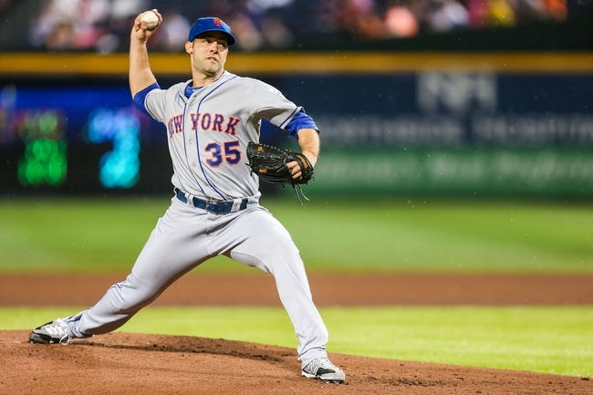 June 17, 2012; Atlanta, GA, USA; New York Mets starting pitcher Dillon Gee (35) pitches in the first inning against the Atlanta Braves at Turner Field. Mandatory Credit: Daniel Shirey-USA TODAY Sports